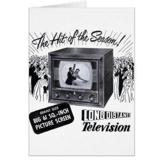 Vintage Kitsch Television B&W TV AD Greeting Card