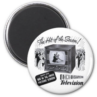 Vintage Kitsch Television B&W TV AD Magnet