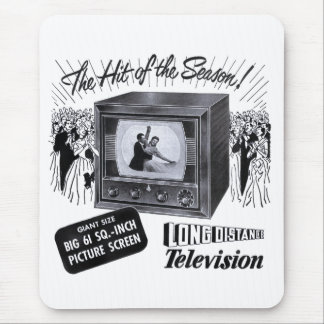 Vintage Kitsch Television B&W TV AD Mouse Pad