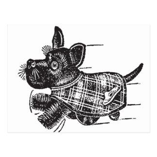 Vintage Kitsch Toy Shaking Dog Scottie Postcard