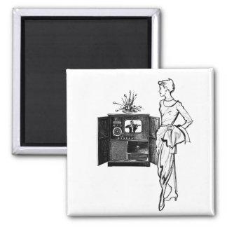 Vintage Kitsch TV Old Television Set illustration 2 Inch Square Magnet