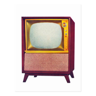 Vintage Kitsch TV Old Television Set Postcard