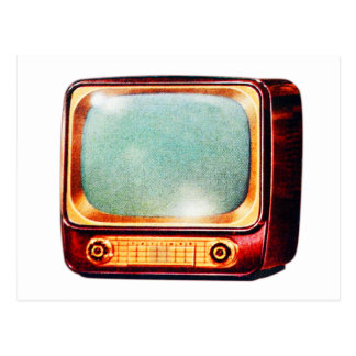 Vintage Kitsch TV Old Television Set Postcard