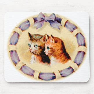 Vintage Kitsch Two Kitties Kittens Cats Art Mouse Pad