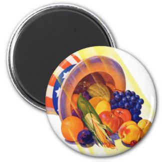 Vintage Kitsch Uncle Sam Fruit of Plenty Art Magnet