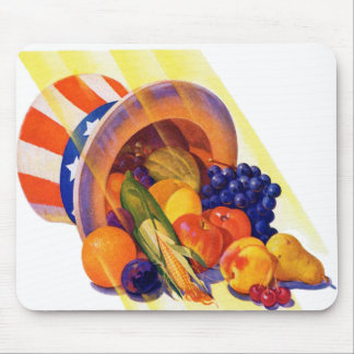 Vintage Kitsch Uncle Sam Fruit of Plenty Art Mouse Pad