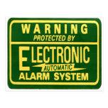 Vintage Kitsch Warning Electronic Alarm Sticker Postcard