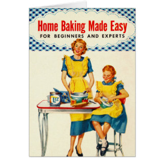 Vintage Kitsch Woman Baking Home Baking Made Easy Card