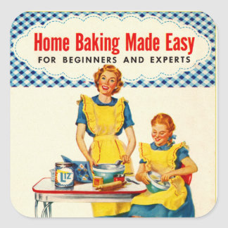 Vintage Kitsch Woman Baking Home Baking Made Easy Square Sticker