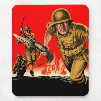 Vintage Kitsch WW2 Army Combat Soldiers Battle Art Mouse Pad