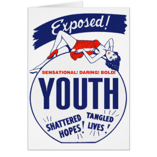 Vintage Kitsch Youth Exposed Tattered! Shattered! Greeting Card