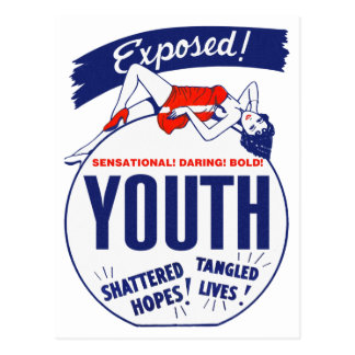 Vintage Kitsch Youth Exposed Tattered! Shattered! Postcard