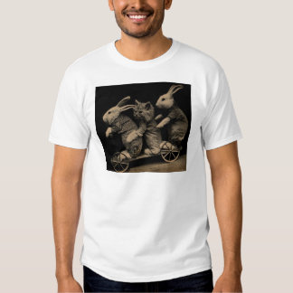 Vintage Kitten and Bunny Funny photo Shirt