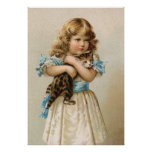 Vintage Kitten and Girl Poster