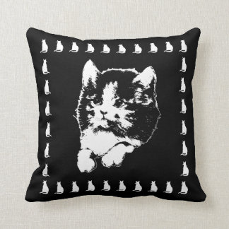Vintage Kitten Art Black and White Cat Pillow