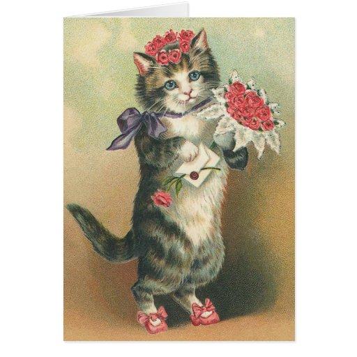 Vintage Kitten Birthday Card