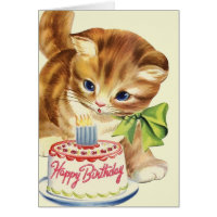 Vintage Kitten Birthday Greeting Card