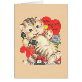 Vintage Kitten / Cat Valentine's Day Card