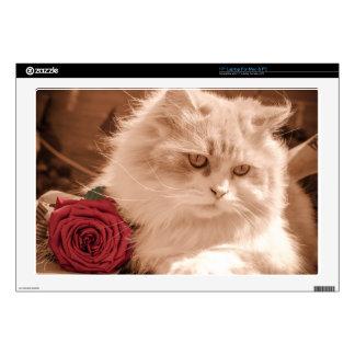 Vintage Kitten Cat With Rose, PC Mac Laptop Skin