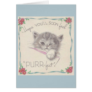 Vintage Kitten Get Well Card