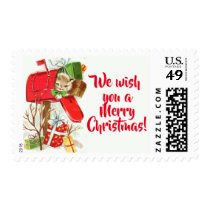 Vintage Kitten In A Mailbox Christmas Postage