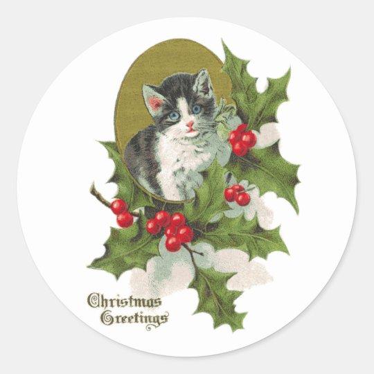 Vintage Kitten in Holly Sticker