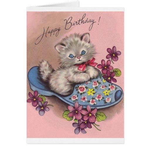 Vintage Kitten In Slipper Birthday Card