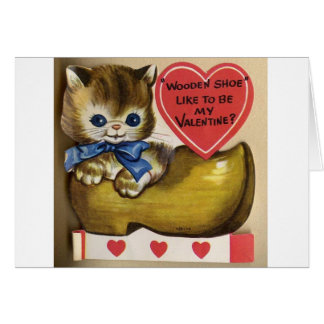 Vintage Kitten In Wooden Shoe Valentine's Day Card