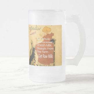Vintage Kitten Milk Poster Frosted Glass Beer Mug