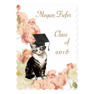 Vintage Kitten Pink Roses Graduation Party Card