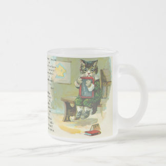 Vintage Kitten Punished at School Frosted Glass Coffee Mug