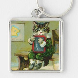 Vintage Kitten Punished at School Keychain
