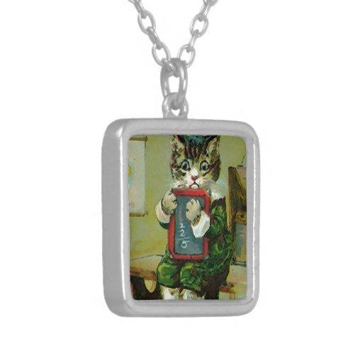 Vintage Kitten Punished at School Square Pendant Necklace