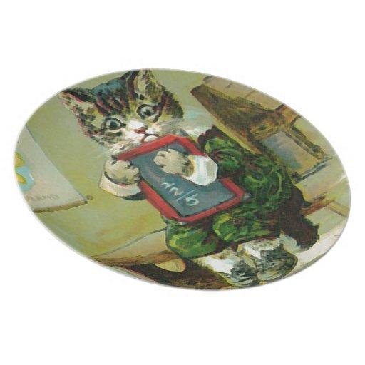 Vintage Kitten Punished at School Plates