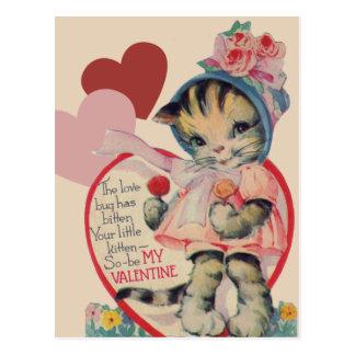 Vintage Kitten Valentine Post Card