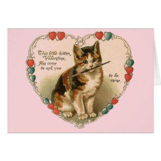 Vintage Kitten Valentine's Day Greeting Card