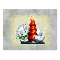 Vintage Kitten With Candle Postcard