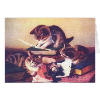 Vintage Kitten Writer Cat Author Note Card
