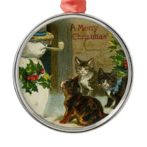 VIntage Kittens and Snowman Metal Ornament