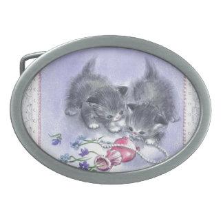 Vintage Kittens Antique Pearls Belt Buckle Belt Buckle