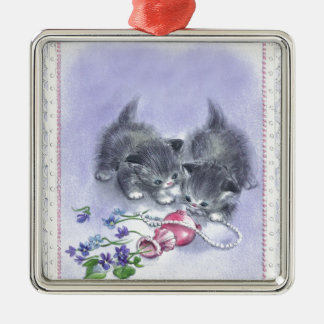 Vintage Kittens Antique Pearls Square Ornament