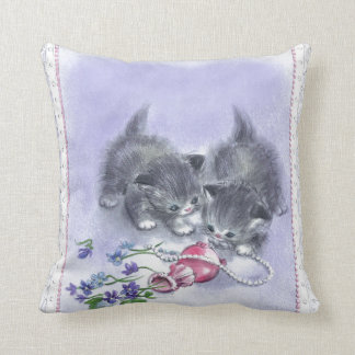 Vintage Kittens Antique Pearls Throw Pillow