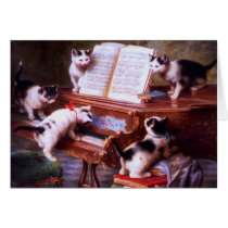 Vintage - Kittens at Play on a Piano,