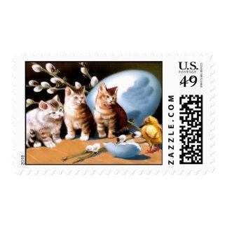 Vintage Kittens & Chick Easter Postage Stamp