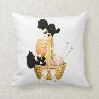 Vintage Kittens In A Basket Of Yarn Pillow