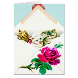 VINTAGE KITTENS IN AN ENVELOPE W. RED ROSE CARD