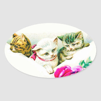 VINTAGE KITTENS IN AN ENVELOPE W. RED ROSE OVAL STICKER