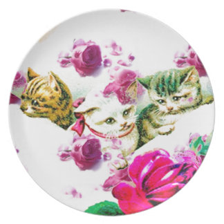 VINTAGE KITTENS IN ROSES DECORATIVE SERVING PLATE