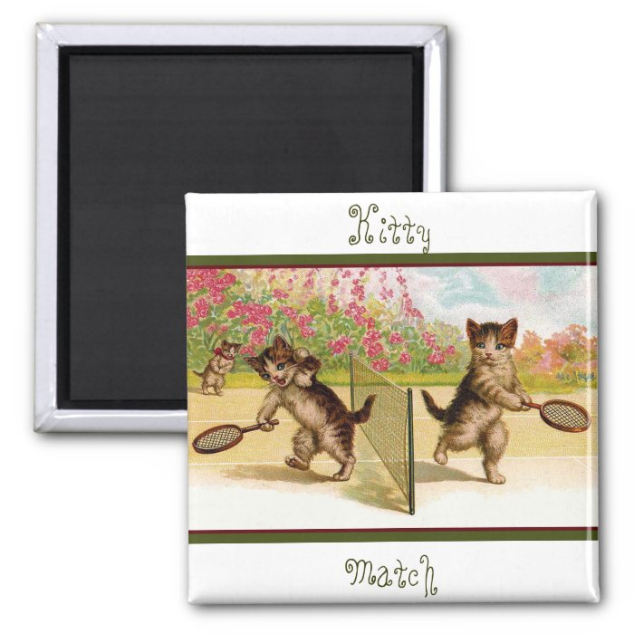 Vintage kittens Playing Cat Tennis 2 Inch Square Magnet