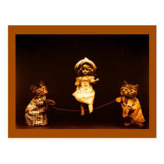 Vintage kittens rope skipping doll art photo postcard